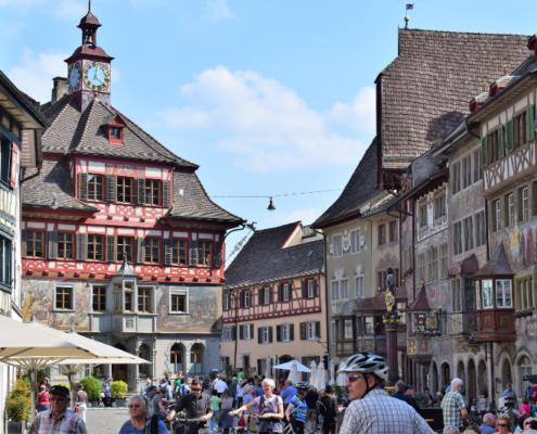 Fotografie Red Knights Germany 1 Visit CH 1 Ausflug Stein am Rhein Rundgang Blick auf Marktplatz